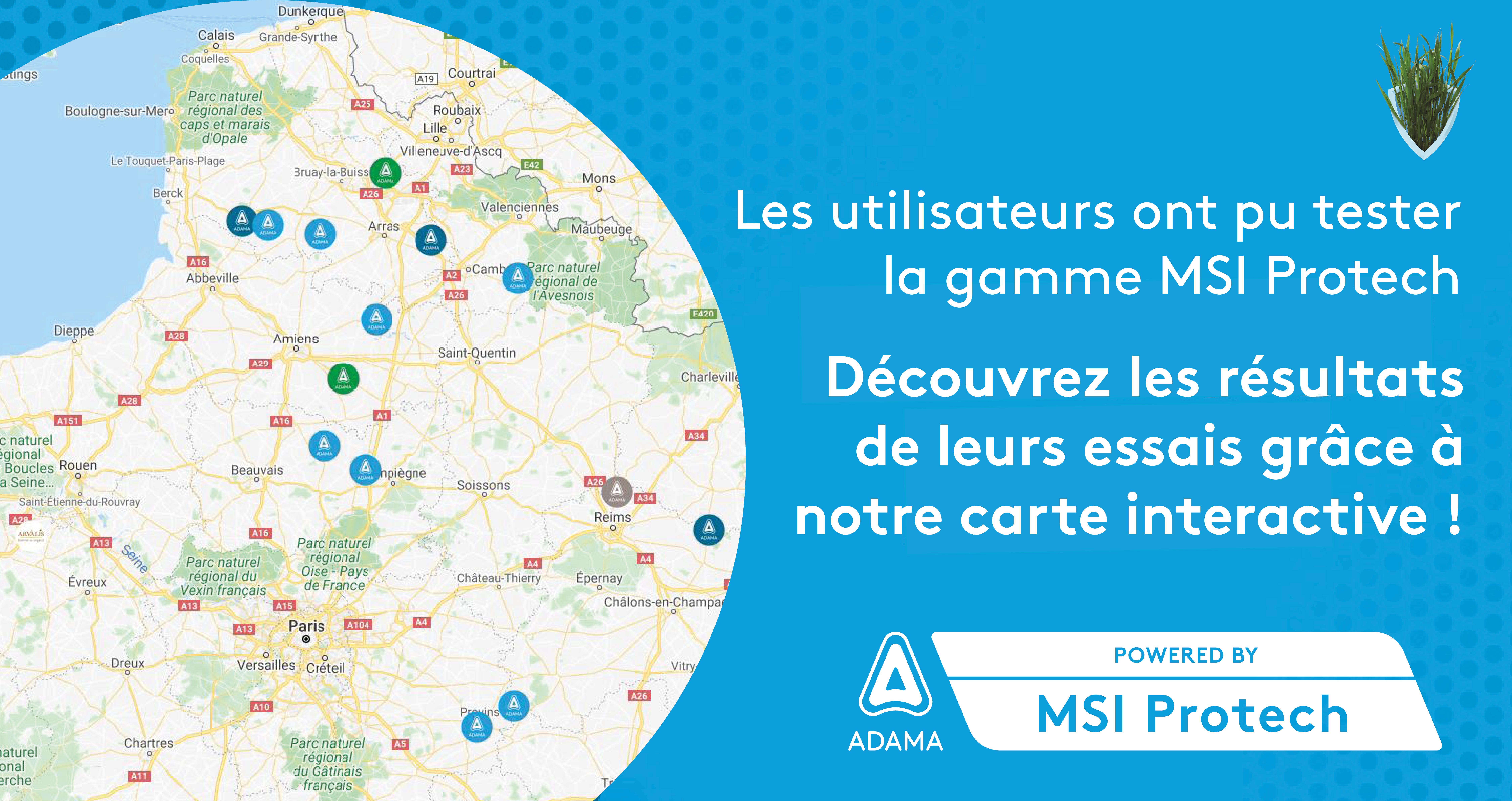 Carte interactive essais MSI Protech Blé